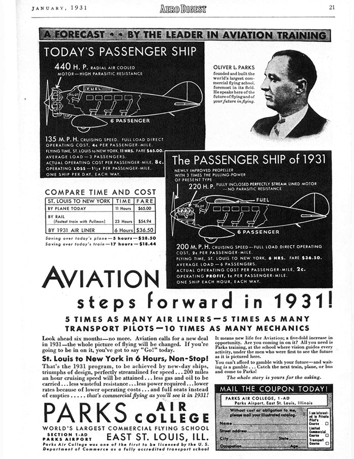 Parks Air College Advertisement, 1931 (Source: Woodling)