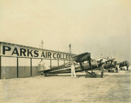 Parks College Aircraft on Ramp, 1937 (Source: SLU)