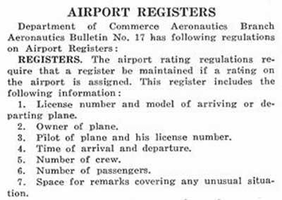 U.S. Department of Commerce, Airfield Register Guideline, Ca. 1926 (Source: Webmaster)